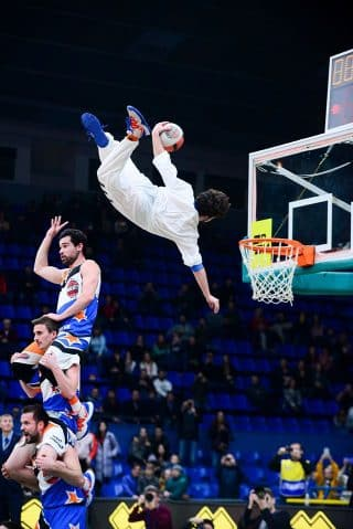 Acrobatic basketball team BBL Dunkers in Glasgow